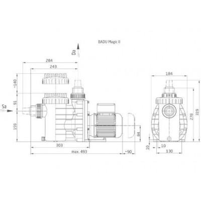 Циркуляционный насос BADU Magic II/4 (4 м3/ч, Н=8м), P=0,18 кВт, 230В